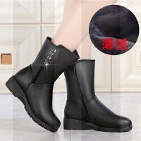 妈妈靴子女冬季中老年女士中长筒靴大码加绒保暖真皮鞋平底女棉鞋SN0476