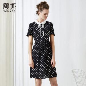 颜域系带娃娃领波点连衣裙气质修身时尚百搭2018品牌女装夏季新款