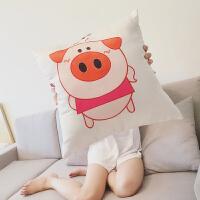 卡通小猪抱枕床头靠背汽车护腰靠垫办公室靠枕套芯腰枕垫沙发枕头