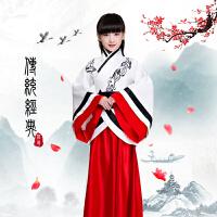 儿童汉服绣花曲裾女童古装 服装男童汉服古装古筝 中国风演出服装