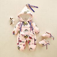 3婴儿羽绒服连体衣冬装加绒厚男女宝宝哈衣爬服新生儿抱衣0-6个月 粉红色(加绒加厚) 预售7天左右发货