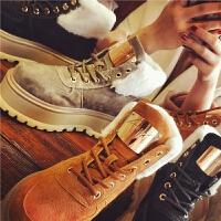 欧洲站冬季新款松糕厚底马丁靴真皮复古短靴保暖雪地靴学生女鞋潮