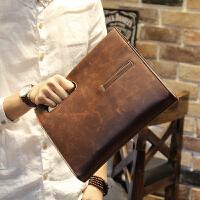 男士斜挎包包手提包复古包斜跨韩版包商务休闲单肩包 咖啡色