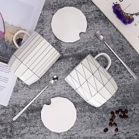 ins北欧早餐杯子陶瓷 简约咖啡水杯带盖勺大容量办公室情侣马克杯