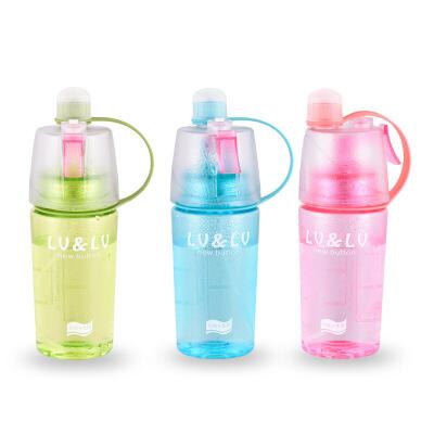 运动塑料杯 喷雾水壶户外便携杯子 创意礼品水杯