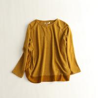 女秋冬毛衣长袖圆领条纹宽松显瘦拼接套头衫打底上衣30