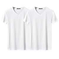 男士短袖t恤v领潮流2018夏季纯色薄款修身白色半袖体恤打底衫男