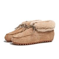 豆豆鞋加绒冬季皮毛一体雪地鞋加绒保暖平底包子靴冬裸色