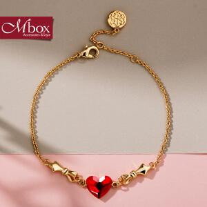 新年礼物Mbox手链 女款日韩国版原创采用施华洛世奇元素水晶手镯 全城热恋