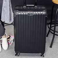 铝框旅行箱拉杆箱万向轮24寸学生20寸行李箱子硬箱密码箱登机箱包 黑色 磨砂面铝框款