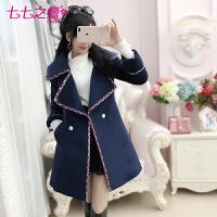 冬装新款女装 深蓝色夹棉加厚中长款毛呢外套大衣