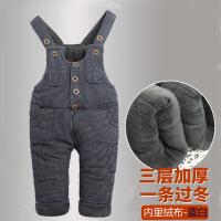 冬季宝宝背带棉裤冬1-3岁加厚加绒男童牛仔裤可开档婴儿童保暖裤