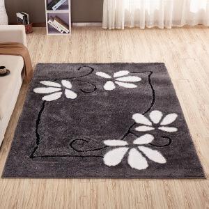 【领券减40】幸阁 弹力丝现代亮丝图案地毯 简约客厅茶几地毯