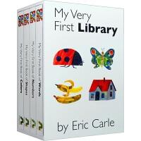 我的首个图书馆套装4册 原版Eric Carle My Very First Library 颜色形状数字单词 英文原