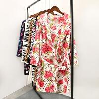 玫瑰花朵女士秋季珊瑚绒浴袍睡衣家居服加厚冬季长袖浴衣 WA21
