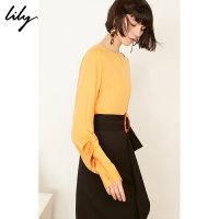 【不打烊价:175元】 Lily春新款女装商务舒适一字领气质宽松雪纺衫119120C8294