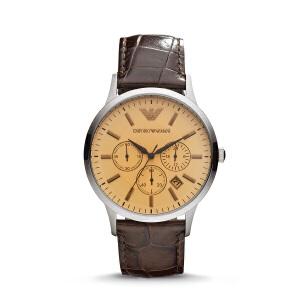 Armani阿玛尼圆形复古男表 时尚潮流皮革带手表防水石英表AR2433
