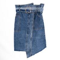牛仔半身裙2018韩版高腰修身显瘦不规则开叉毛边中长款腰带包臀裙 深蓝色