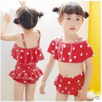 爱心泳装公主比基尼分体裙式小中大童泳装韩国儿童泳衣女童女孩游泳衣