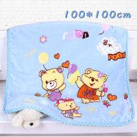 婴儿毛毯儿童云毯新生儿抱被外出包毯宝宝双层加厚秋冬季小盖被子 蓝三只熊 双层100cm方毯