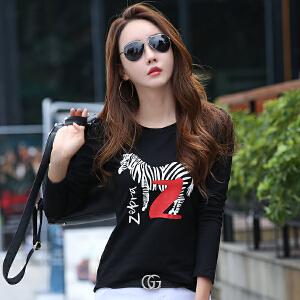 衣服秋季新款女长袖体恤衫韩版女士修身显瘦外穿t恤打底上衣