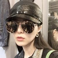 范冰冰李小璐水银偏光太阳镜潮圆形墨镜厚边同款男女反光太阳眼镜