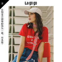 【5折价81.5】Lagogo/拉谷谷2018年夏季新款时尚学院风绑带短袖T恤HATT314F05