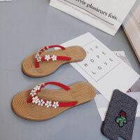 人字拖女夏新款韩版时尚水钻串珠平底凉鞋夹趾防滑沙滩拖鞋潮
