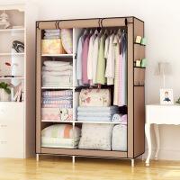 简易衣柜 家用现代时尚无纺布防尘收纳衣橱挂衣柜衣架钢架组合折叠收纳柜