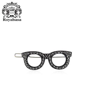 皇家莎莎水钻发夹刘海夹眼镜发卡子头饰韩版盘发夹侧夹边夹发饰品