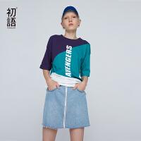 初语hiphop宽松大t恤女bf风短袖18夏新款港味字母印花拼色体恤&