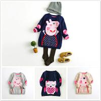 【萌款 女童卡通猪中长款针织裙童装女宝宝毛衣