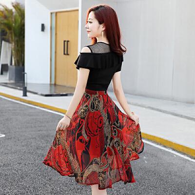 连衣裙女夏2018新款雪纺长裙碎花修身显瘦气质收腰A字裙