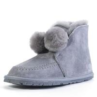 冬季雪地靴女皮毛一�w保暖百搭�@瘦毛球鞋baby同款�W生防滑短筒靴