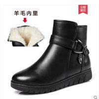 冬季妈妈鞋羊毛棉鞋真皮平底短靴防滑加绒保暖中老年皮鞋老人女鞋SN3283