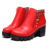 2018冬秋冬季新款粗跟短靴女英伦风牛皮高跟红色单鞋学生马丁靴潮