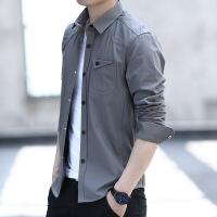 男士衬衫长袖韩版潮流修身衬衣加绒保暖休闲寸衫秋装201