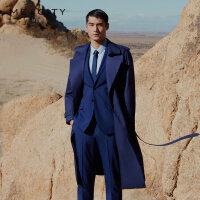 【2件2.5折到手价:284.75,4月10日0点】MECITY男装春季新款翻领商务时尚风衣韩版外套