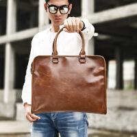 皮质公文包 男士手提包横款韩版商务斜挎包单肩男包
