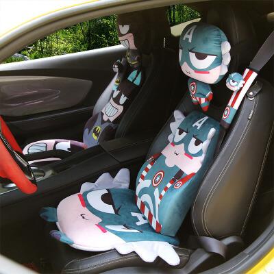 亚麻汽车坐垫四季卡通座垫座套套装半包围车用品通用装饰夏季透气SN2921