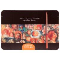 Marco马可 3100-48TN彩色铅笔 雷诺阿彩色铅笔 48色彩色铅笔 填色笔 油性美术铅笔 铁盒装素描彩铅