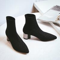 2018新款靴子女袜子靴弹力靴中筒短靴女针织马丁靴秋冬粗高跟女鞋