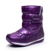 男女冬季儿童短中筒小孩子公主雪地靴防水宝宝加厚绒新款保暖棉鞋 紫色 搭扣款