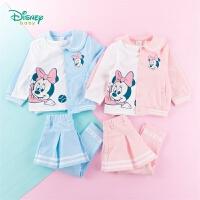 迪士尼Disney童装 女童运动卫衣套装春季新品娃娃翻领外套米妮T恤百褶裤裙3件套201T1104