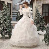 2018新款冬天新娘结婚一字肩婚纱礼服齐地冬季保暖长袖加厚秋冬款