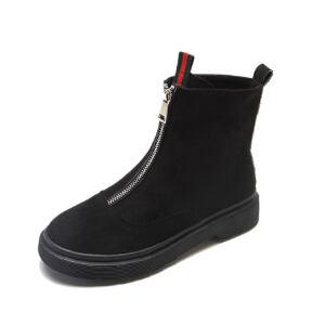 WARORWAR新品YM45-8807冬季韩版磨砂绒反绒平底舒适女士靴子短靴