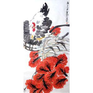*邓远坡  公鸡赏花