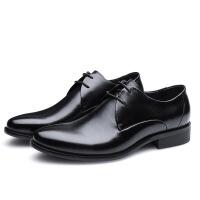 2018年秋季新男士经典大气黑色皮鞋百搭商务正装皮鞋真皮绅士皮鞋软底 黑色
