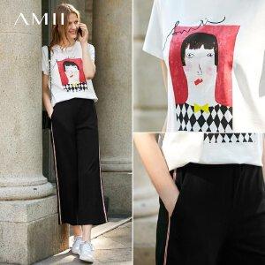 【到手价:64.9元】Amii极简洋气原宿港味T恤休闲九分裤女2019夏季新印花拼织带套装