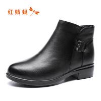 红蜻蜓短靴女真皮冬季新款加绒棉鞋高跟休闲百搭马丁靴